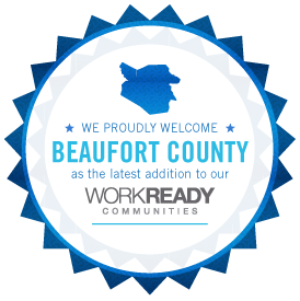 Badge that welcomes Beaufort County to NC Work Ready Community